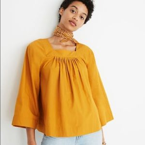Madewell Square Neck Top, Mustard Yellow, XL